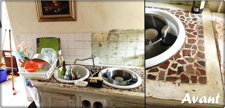 Chantier cuisine Bricol'Home, travaux, remplacement et pose de plan de travail en pierre et carrelage mural